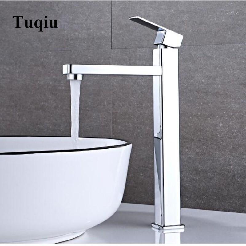 Cromo quadrato rubinetto da bagno in ottone bagni bacino rubinetto singolo acqua fredda miscelatore lavandino singolo maniglia con impugnatura a ponte montata1