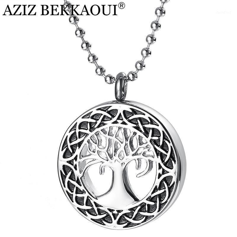 Colares Pingente Aziz Bekkaoui Gravar Nome de Aço Inoxidável Colar Cremação Urna Cinza Memorial Membre-se Árvore Pendant1