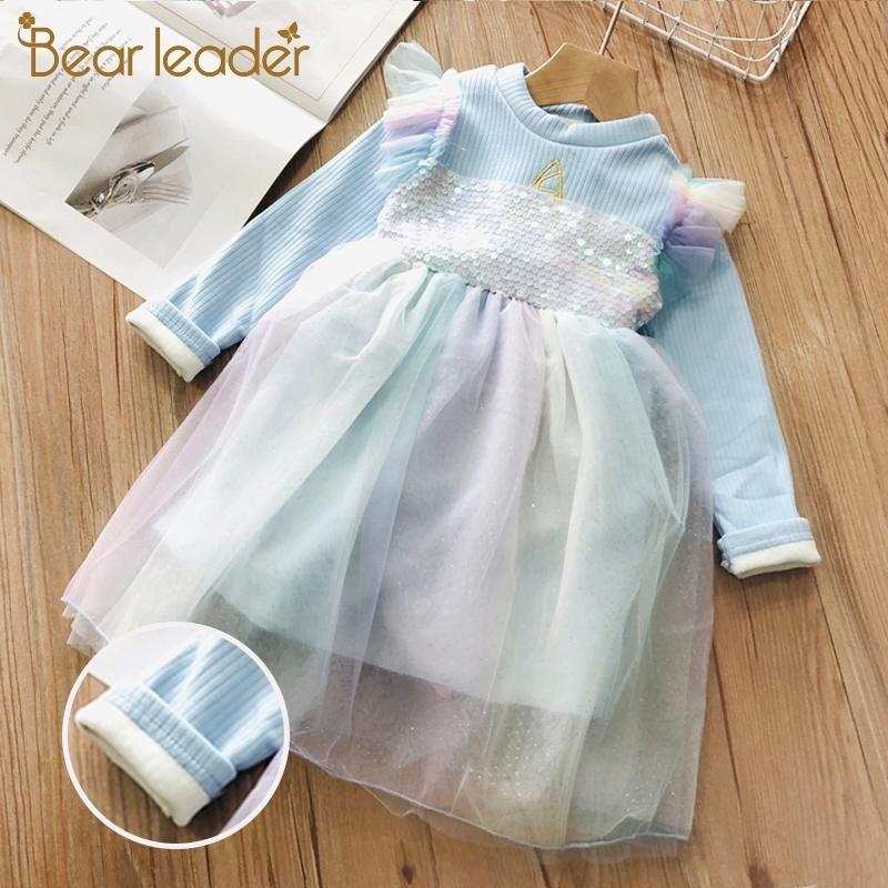 Bear líder meninas vestido outono inverno menina menina vestidos casuais princesa vestido flores crianças roupas roupas natal roupa 201202