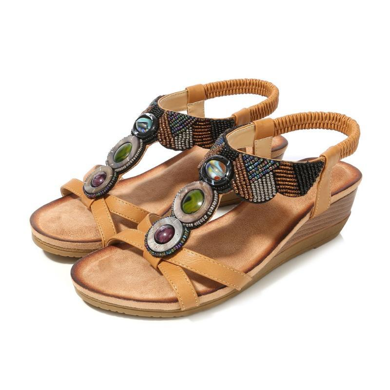 SAGACE Bohemian Women Rhinestone Sandals Shoes Flat Sandals Beach Elastic Open High Quality Sexy Outside Ladies Shoes
