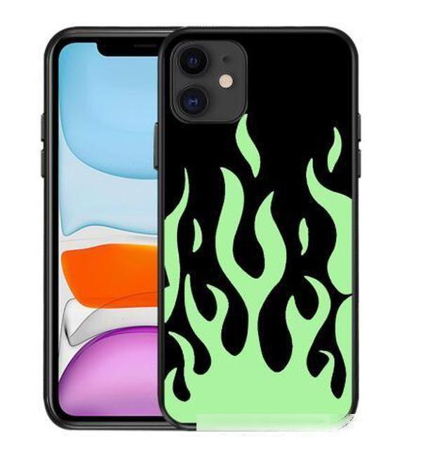 Mode Flammenmuster Telefon Fall für iPhone X xs Max 11 Pro XR 12 6Plus SE 2020 Schwarz Rot Weiche Silikon Rückseite