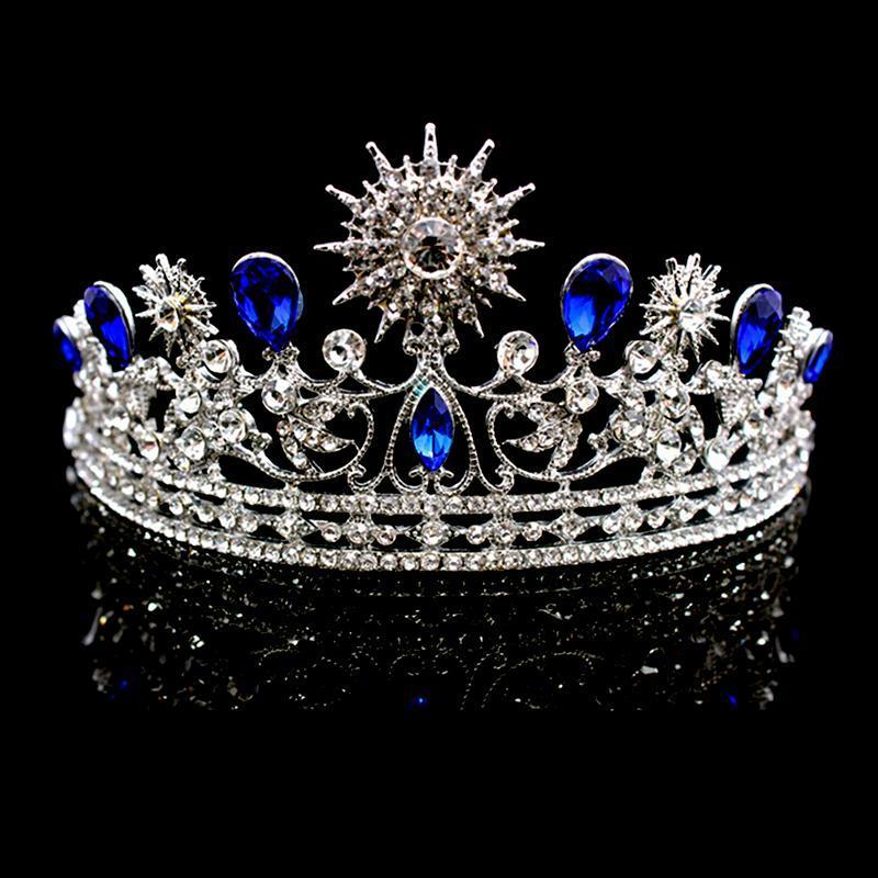 Crystal Rhinestone Crown Crown Silver Bride Tiaras y Crown Tocado Accesorios para el cabello para las mujeres Cabeza nupcial de la boda