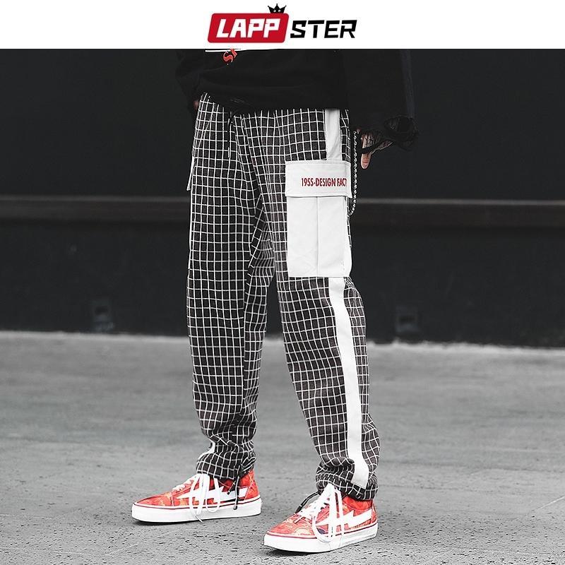 Lappster плед брюки мужчины лоскутная уличная одежда бегуны хип-хоп плед черные спортивные штаны случайные брюки Harajuku Harem брюки 201109