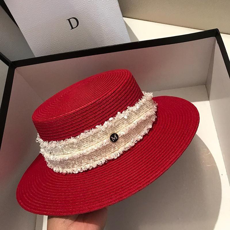 Шляпа летняя шапка на пляже 2021 Feminino Sun бренд плоский верх Топ соломенные женщины мода девушка шляпа костной ленты горас новый пляж ГУЧПР