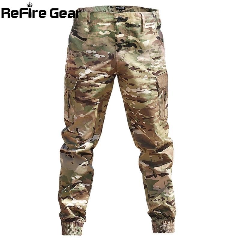 Pantalon de jogging tactique de camouflage Camouflage de camouflage Men Armée Combat Airsoft Pantalons militaires Casual imperméable à l'imperméabilication Pantalon de cargaison Y201123