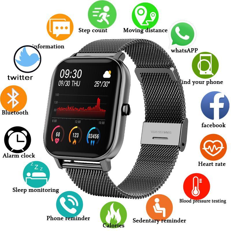 2020 Nuovo schermo a colori P8 Smart Watch Donna Uomo Full Touch Touch Fitness Tracker Pressione sanguigna Smart Orologio SmartWatch per Xiaomi