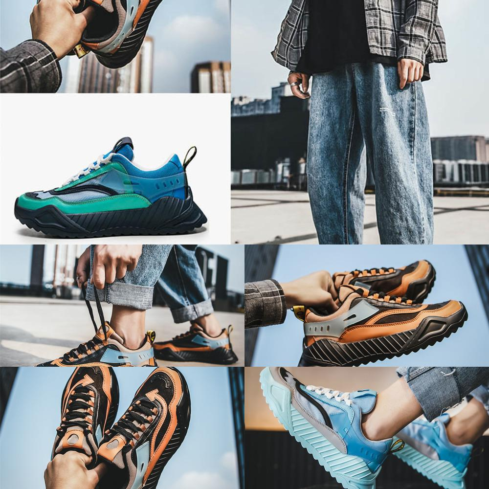 Ayakkabı Erkekler için Nefes Koşma Eğitmenler Mavi Siyah Turuncu Moda Tasarımcısı Bayan Sneakers Açık Yürüyüş Yürüyüş Kamp Atletik Ayakkabı
