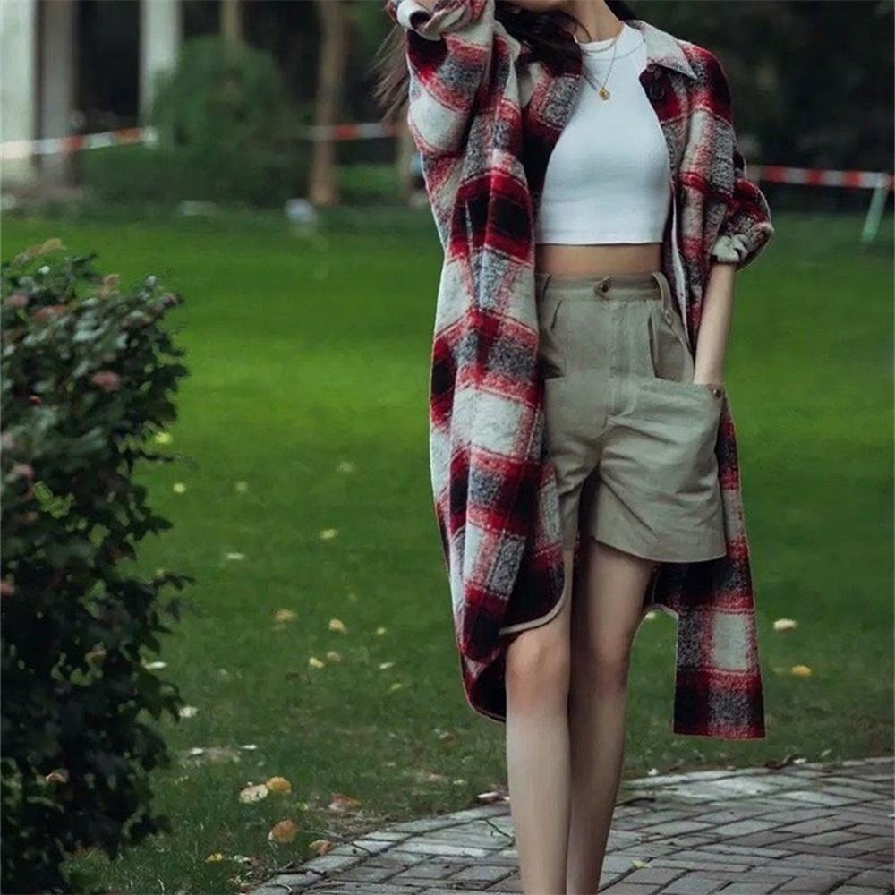 TRAF2020 Женская мода с карманным негабарированным куртке для куртки к клетку Ретро с длинным рукавом
