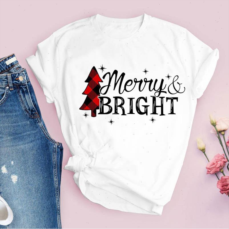 Tees für Frauen drucken Plaid Schneeflocke Brief Baum 90er Jahre Weihnachtskleidung Weibliche T-Shirt Dame Tops Kleidung Graphic T-Shirt