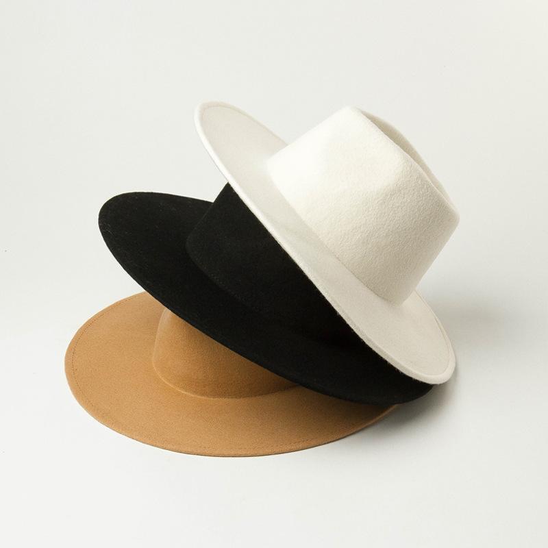Classical Wide Brim Fedora Hat Black white Wool Hats Men Women Crushable Winter Hat Derby Wedding Church Jazz Hats C0123