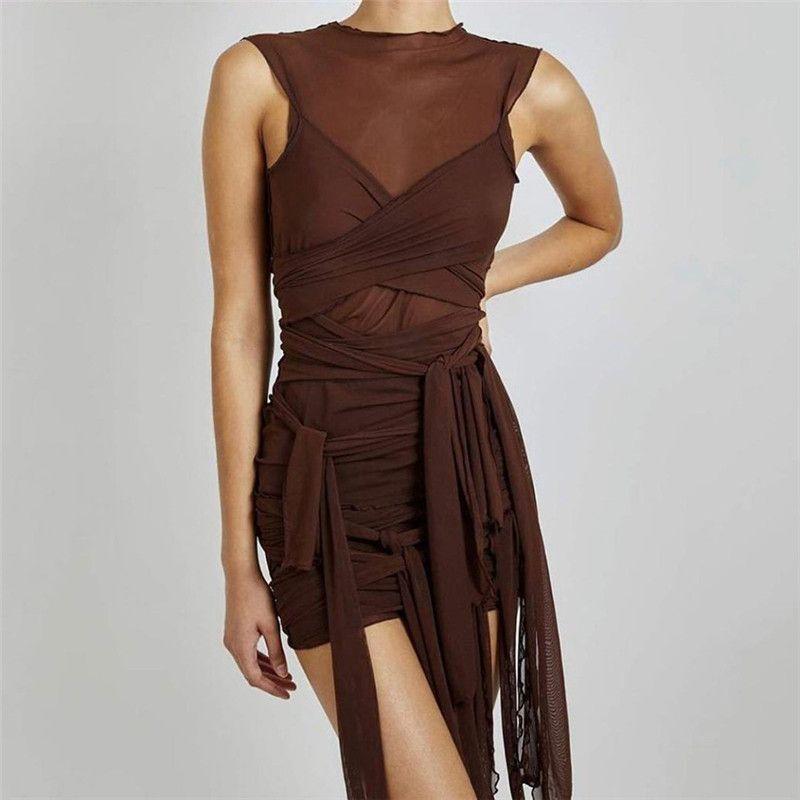 Malla de cintas ver a través de vestidos de fiesta bodycon mujeres sexy club ropa mini vestido sólido sin mangas básicas femeninas
