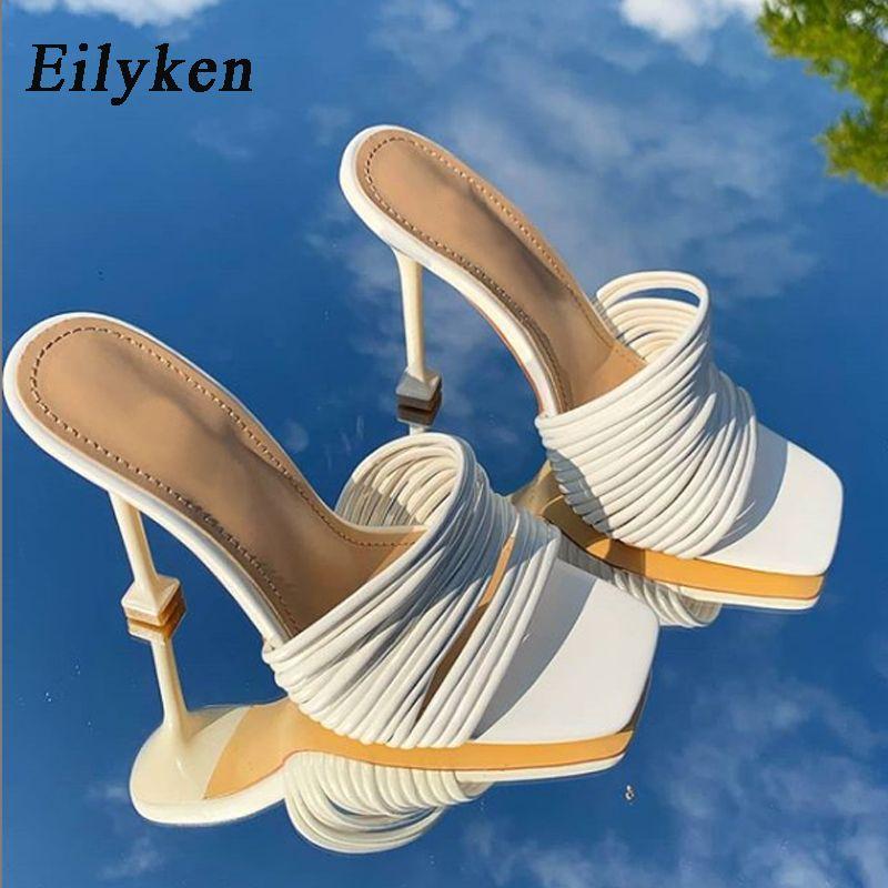 gros bout carré chaussures femmes Slipper été Mules Sandales multi noeud sexy talon haut Slides chaussures dames Rome femmes Chaussons