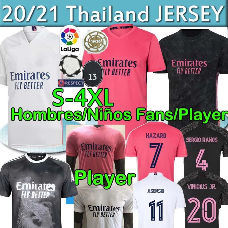 Real Madrid Player 20 21 Футбол Джетки Fazard Sergio Ramos Benzema Фанаты 2020 CamiSeta de Fútbol Men Kids Kit Set Футбольная рубашка Униформа 4XL