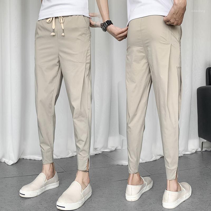 Мужские штаны 2021 летние молодежи мужские простые базовые модели сплошной цвет Большой размер девять-точка мода повседневные ноги 1