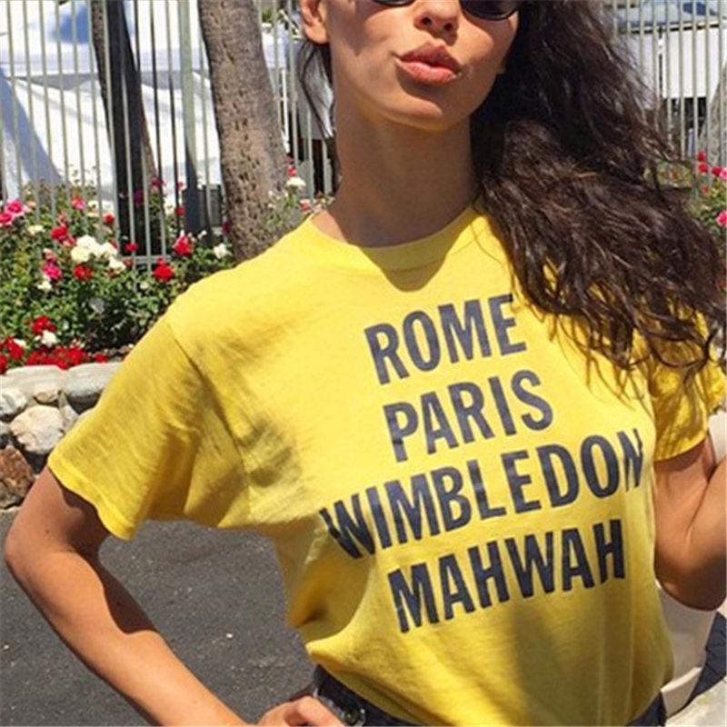 Moda Stilist Kadın Üstleri Gömlek Bayanlar Mektup Paris T Shirt Büyük Kalite Kısa Kollu Bayan Tee