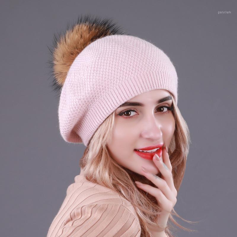 Береты оптом настоящая вязаная шляпа шария шары зима для женщин девочка шерсть хлопчатобумажные чепухи женская шапка BLM591