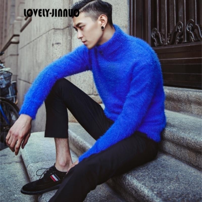 Зимняя новая тенденция плюшевой норки кашемировой водолазки свитер мужские корейские метросексуальные водолазки свитер теплый поддержка JN369 201022