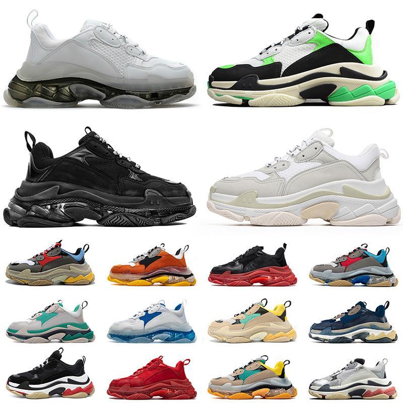 2021 Top Fashion Triple S Crystal Bottoms Mens Womens Casual Shoes Paris Vintage Dad Designer Platform 17FW New Flat Luxury Sneakers 36-45