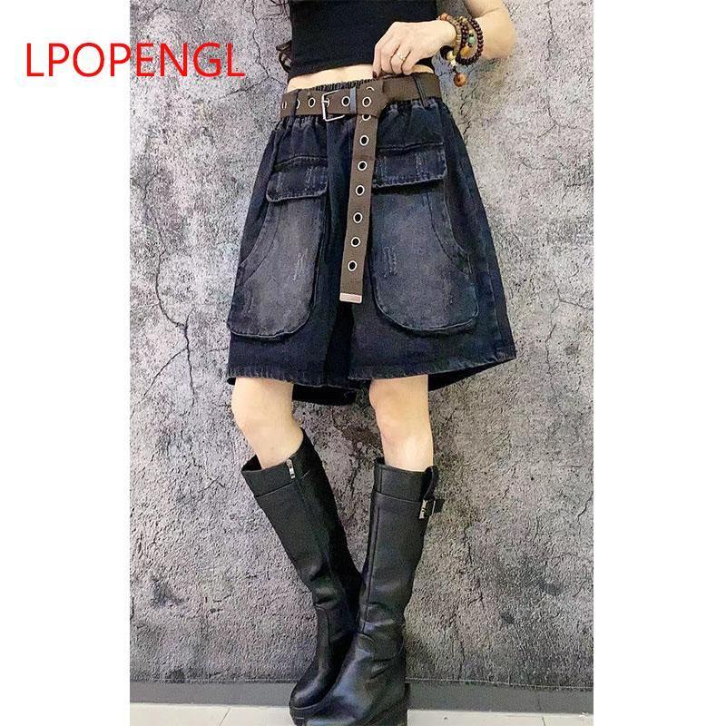 Art Vintage 2021 Spring and Summer Mode Big Pockets Dégusté Lâche Lâche Taille haute Denim Shorts Femme Plus Taille Casual Pantalon