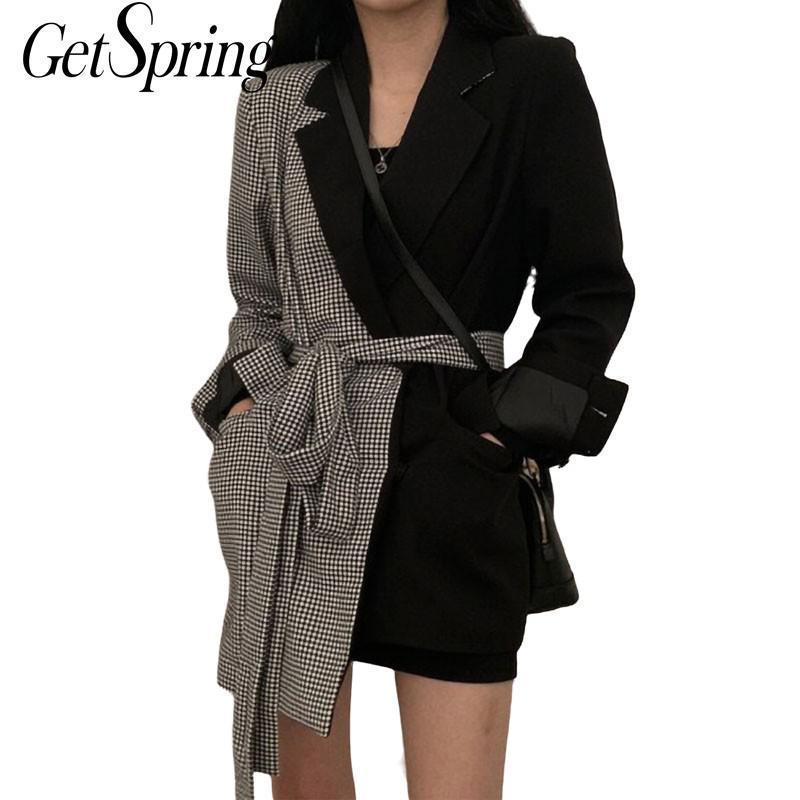 Genspring женщин плед шить нерегулярные женские черные блейзер пальто с длинным рукавом кружев асимметрия женская тонкий костюм куртка
