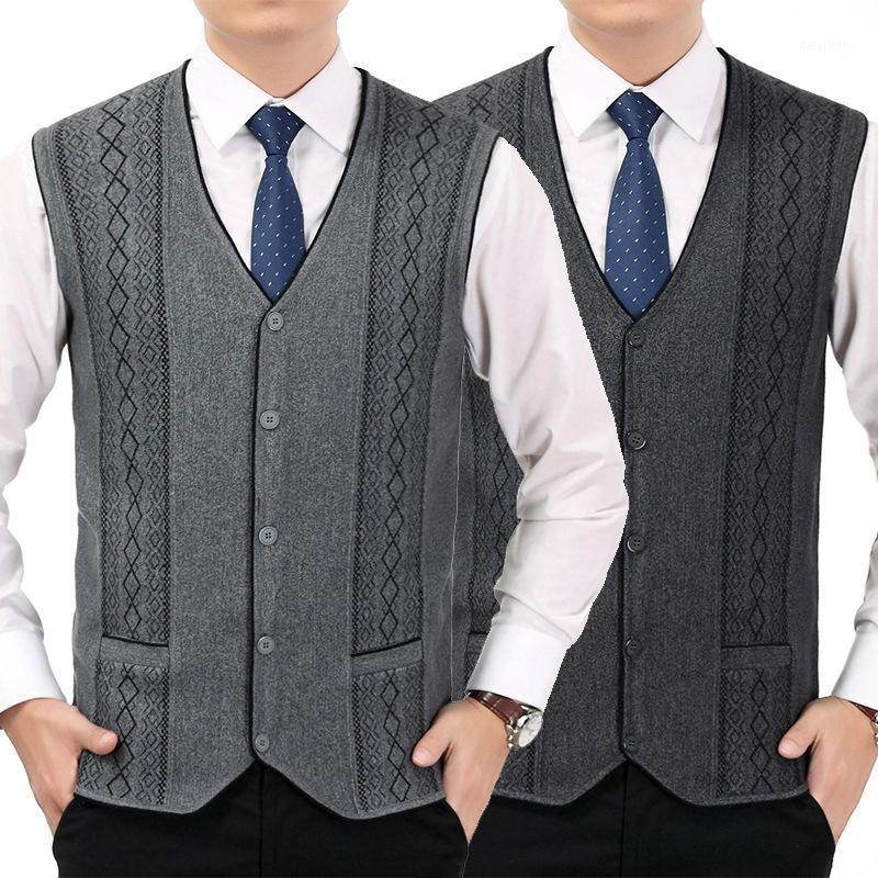 Nueva Llegada Moda Cardigan Waistcoat Invierno Espesado Suéter Sin mangas Primavera Otoño Cuello en V Grueso Ordenador Tamaño de punto M-3x1
