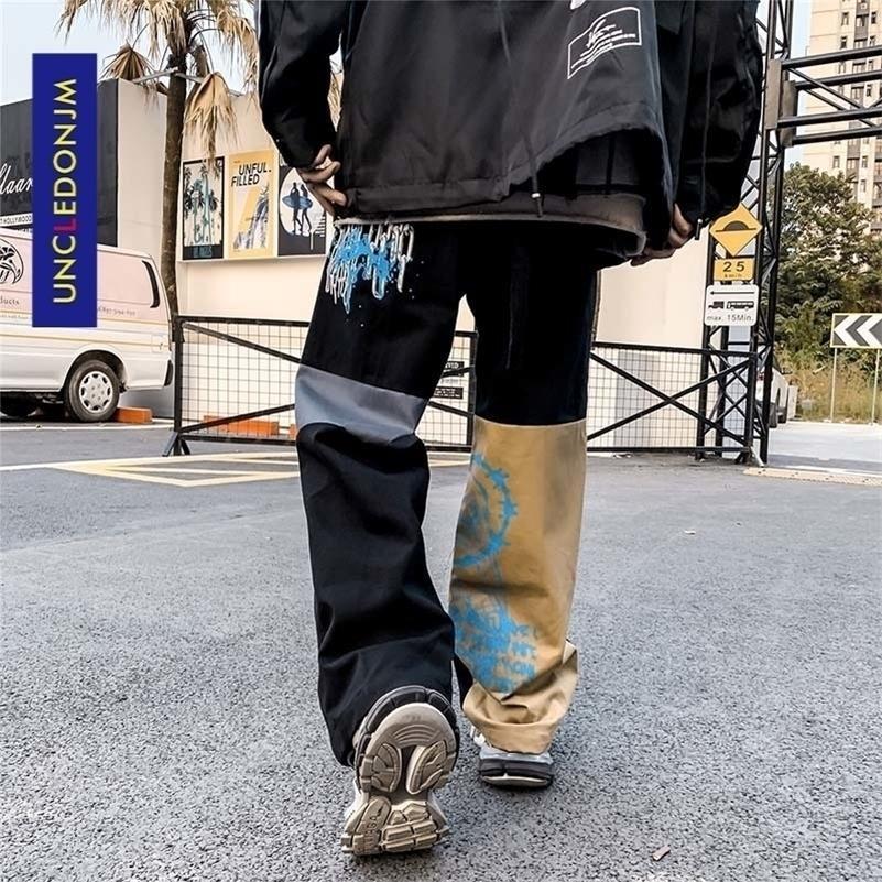 Uncledonjm цвет блокировки грузовые брюки мужчины уличная одежда хип-хоп свободные подходят брюки повседневные брюки хараджуку человек мода 2002 201128