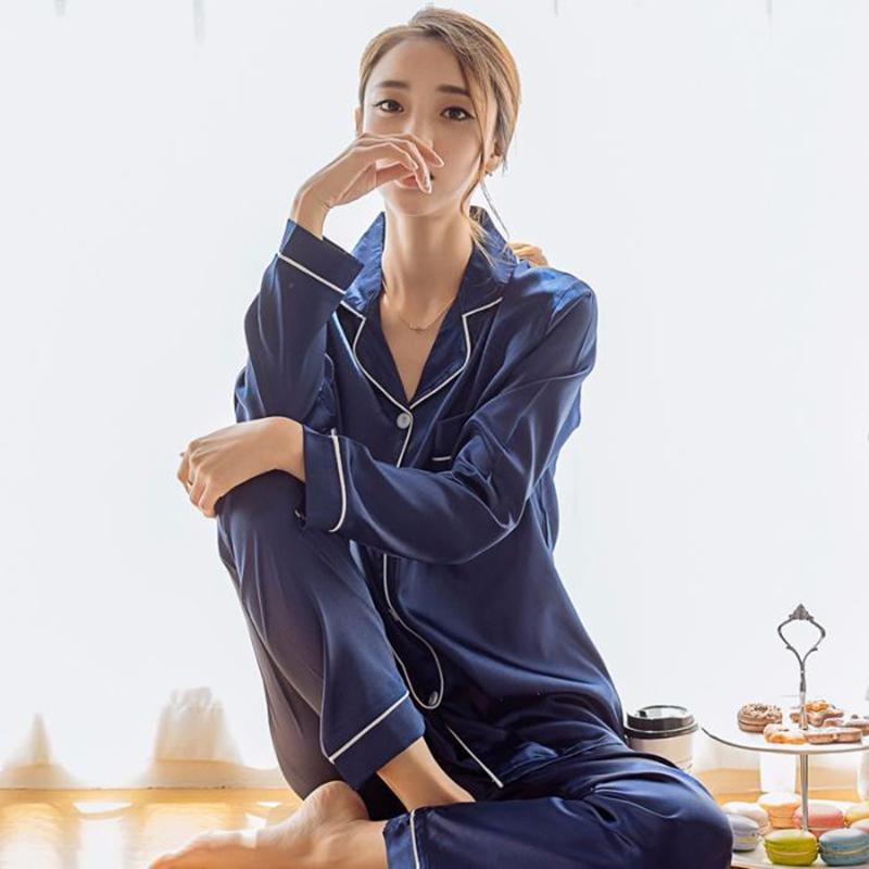 النساء منامة مجموعة ملابس النوم الشتاء طويلة الأكمام موهير pijamas nuisette مثير ملابس نوم الحرير الحرير منامة pjs دعوى 2 قطع