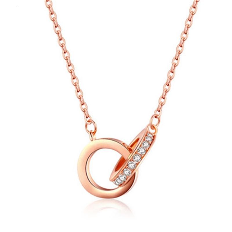 Белое покрытие 18k розовое золотое двойное кольцо ожерелье для женской цепочки клюшки