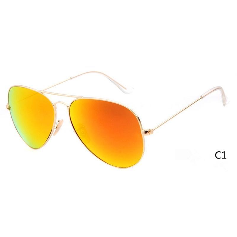 Eyewear New Metal Flash Designer Glaslinse für Herren Damen Spiegel Sonnenbrille Runde Unisex Sun Glasse