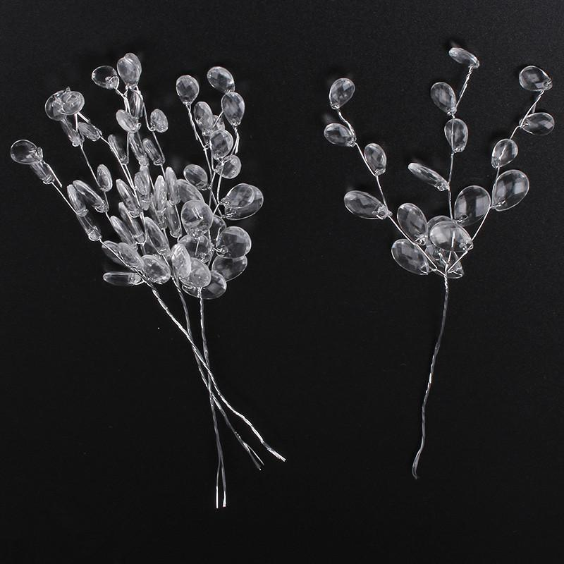 3 Forquilhas / Bando Clear 16 cm Acrílico Cristal Drop Gotas Favores Favores Spray Display Flores Buquê Fio Hastes Wedding DIY Decorações