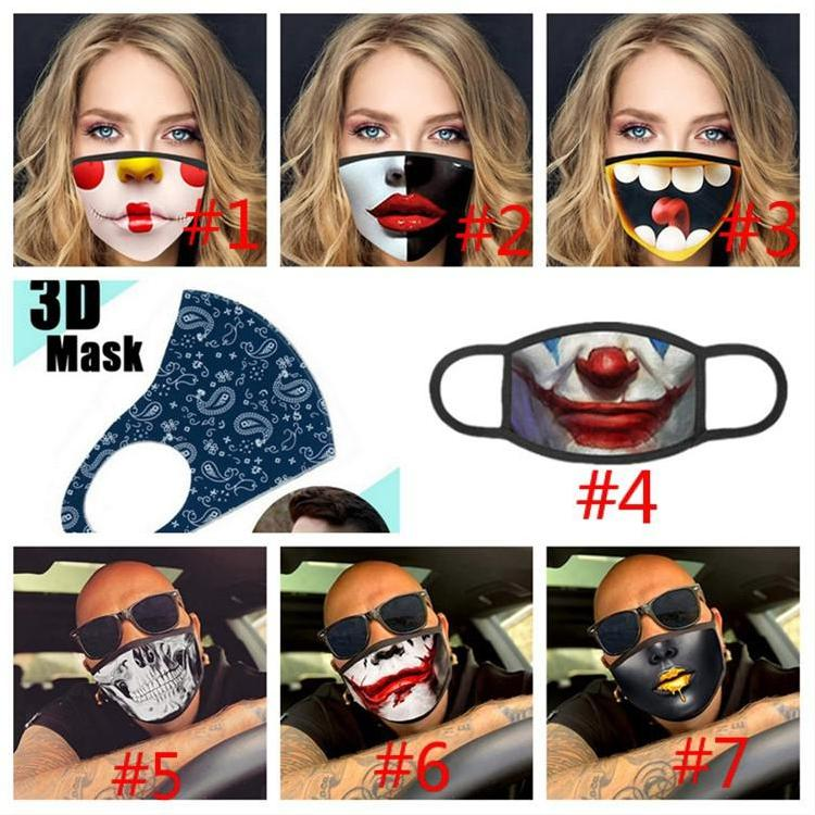 Funny Clowns Mask Printing Mascarillas Cotton Fashion Pop Mouth Cloth Mask Magic Reusable Adult Face Mask Funny Carnival Anti-Dust Filter