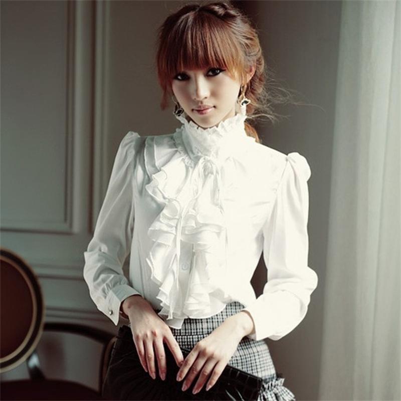 Soporte de manga larga de gran tamaño 5XL Lolita Camisa de manga larga Cuello de gasa con volantes Ladies Bow Shirt Camisa gótica estilo real Y200422