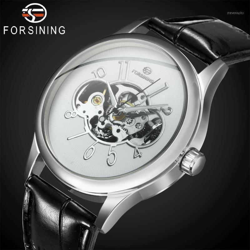 Armbanduhren Top Skeleton Männer Uhren Arabische Ziffern Zifferblatt Lederarmband Fashioning Fashion Business Mechanical Armbanduhren1