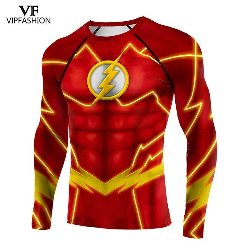 VIP Mode The Flash Compression Shirts Fitness T-shirts T-shirts Longues manches Raglan Anime Imprimé Muscle Muscle Hommes Tee Tee