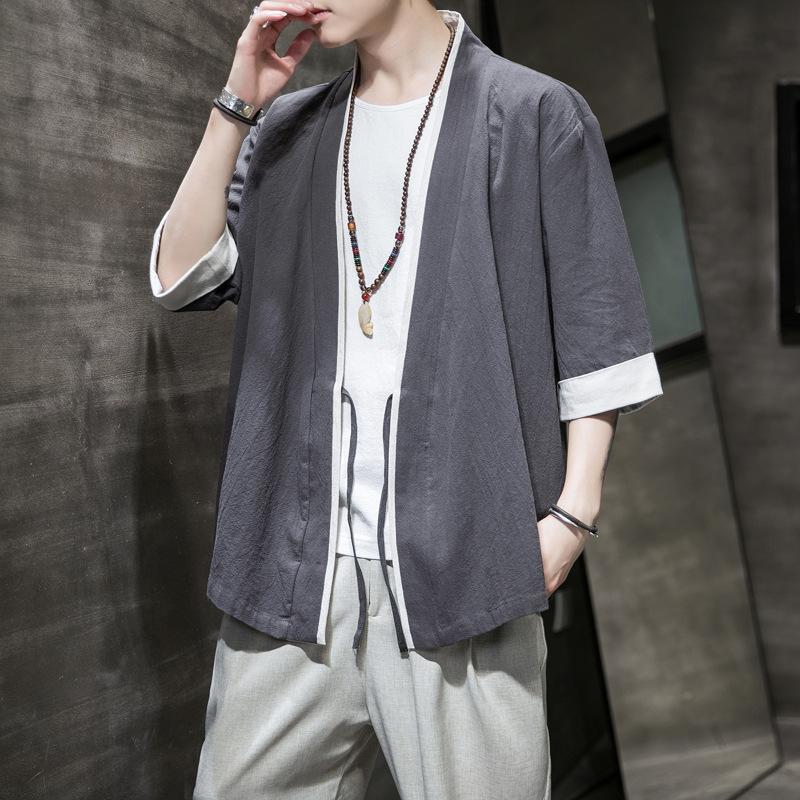 Этническая одежда Китайский стиль пальто футболка плюс размер 4XL 5XL японский кимоно мужской кардиган Harajuku Streetwear Samurai мужчин костюм юката га