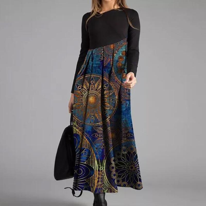 Mode féminine Robe chemise à manches longues O Neck Chic Impression Robe 2020 Hiver Femme Robes Casual Ladies Bureau Robe longue