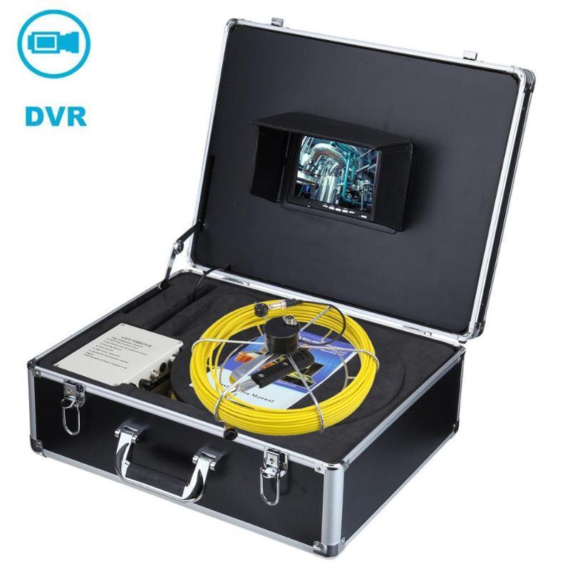 Varilla de empuje 23 mm Lente Monitor de 7 pulgadas Sistema de cámara de inspección de la tubería de la alcantarilla de 20 m con la función DVR Cabeza de la cámara de acero inoxidable
