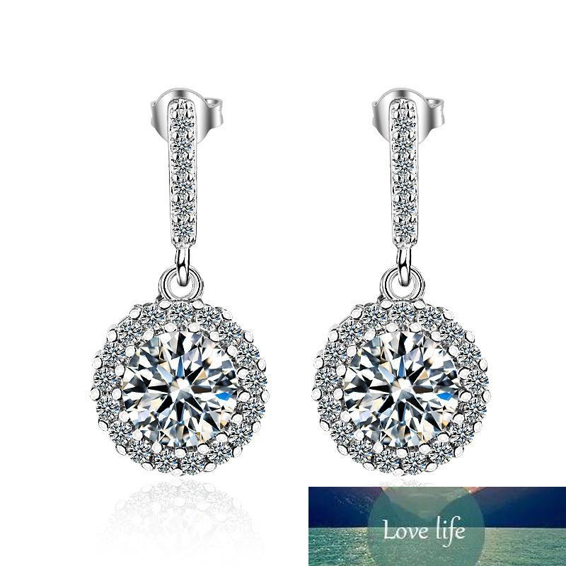 100% 925 Sterling Silver Moda brillante CZ Zircon Damas Stud Pendientes Mujer Joyería Femenino Navidad Regalo Gota Gota Envío