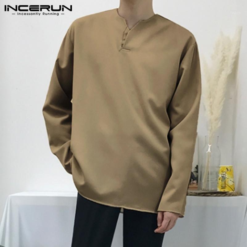 Incerun hombres vintage camiseta algodón color sólido manga larga v cuello ocasional suelto retro camisetas streetwear ocio camisetas1