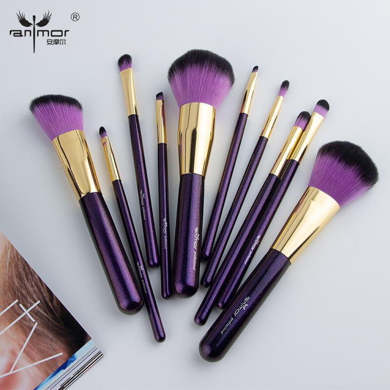 Pinceaux de maquillage anmor 10 pcs défini pour la fondation poudre blush ombre à paupières de fard à paupières à lèvres