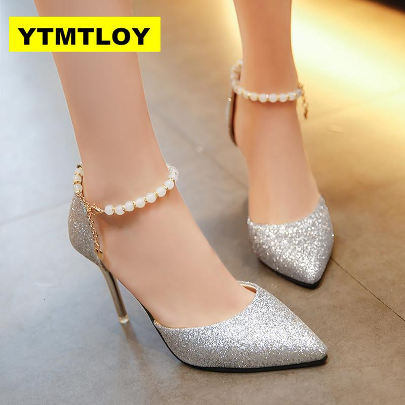 2019 Весна Осень Женщины насосы Сексуальное черное золото Серебро Высокие каблуки моды Luxury Wedding Party Rhinestone обувь Строка BeadR06A