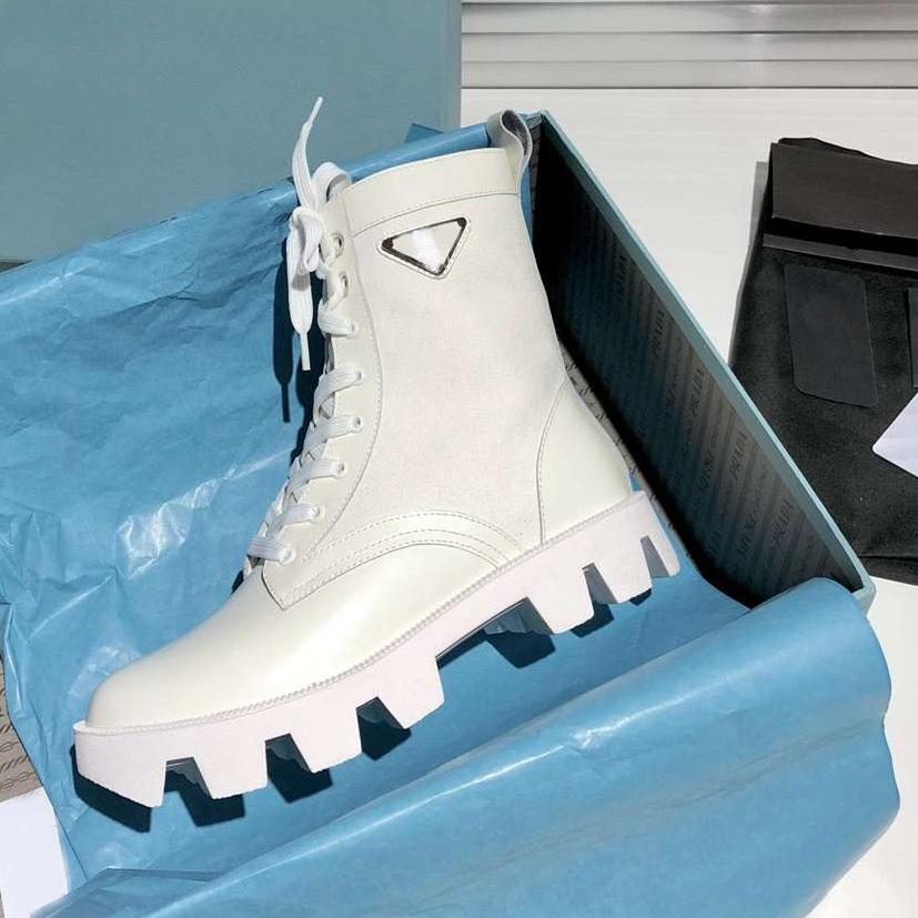Мода Женщин Дизайнеры Мартин Лодыжки Ботинки Ранние Весна Стиль подиума Толстые Сообщенные ботинки с коробкой