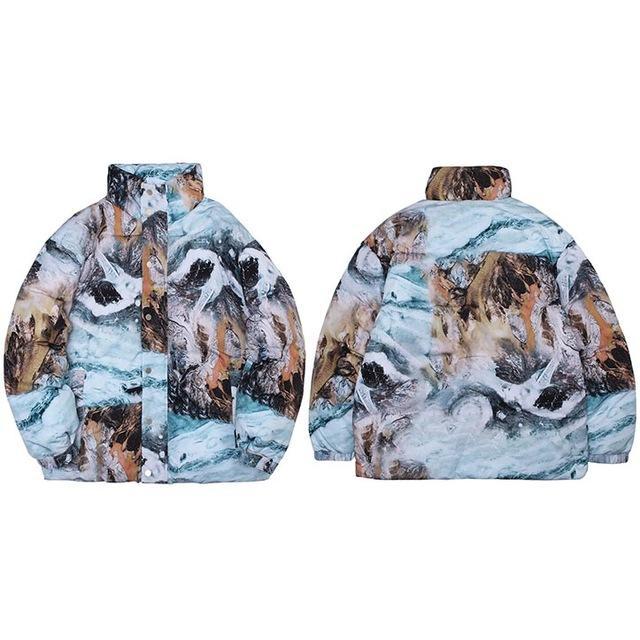Homens hip hop streetwear parka jaqueta pintura jaqueta de impressão windbreaker harajuku inverno espesso aquecido casaco acolchoado para baixo outwear