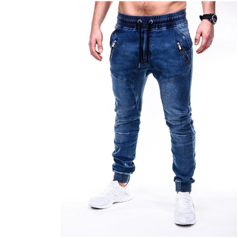 Männer Jeans mahlen weiße Mode Jeans Slim Hosen Herren Denim Hose Reißverschluss Schwarze Hose Für Männer Elastische Fußmasse S-3XL