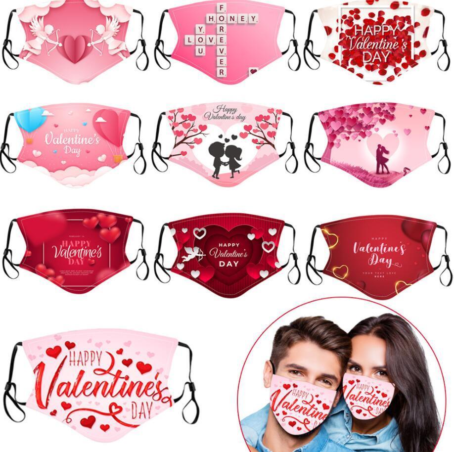 Día de San Valentín Personalizado Mascarillas para adultos Mascarillas Polvo a prueba de polvo 3D Respirador Lavable RREUSABLE INSTERT PM2.5 Filtro Máscaras de fiesta 10 estilos