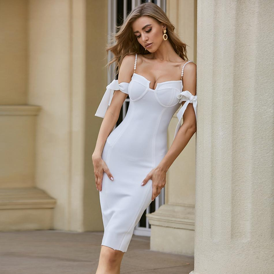 Adyce 2020 nouvelle robe de bandage épaule de l'épaule Sexy Spaghetti Strap Street Sleeve Bodycon Club Celebrity Soirée Robes X1224