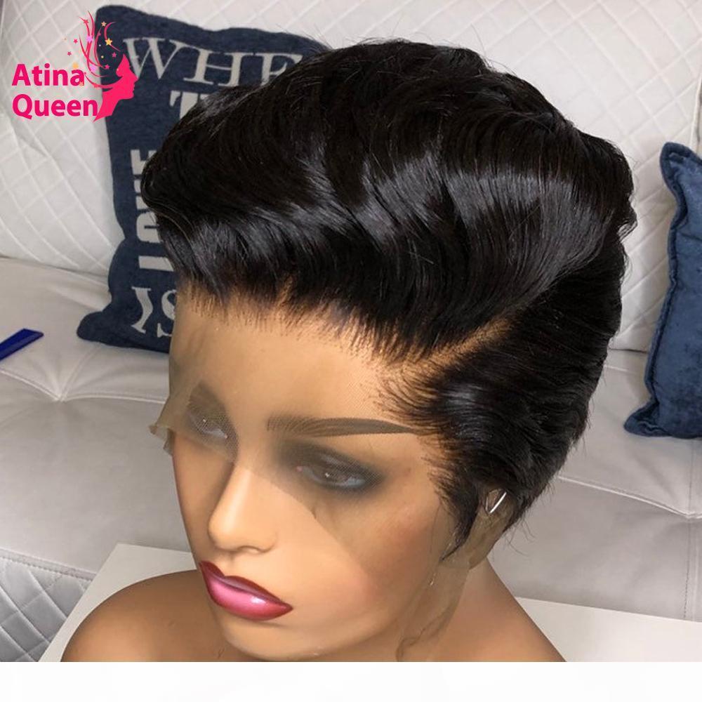 Görünmez Ağartılmış Knotspixie Peruk İnsan Saç Ön Klumped Bebek Saç Bob Kısa Kesim Remy Saç Siyah Kadınlar