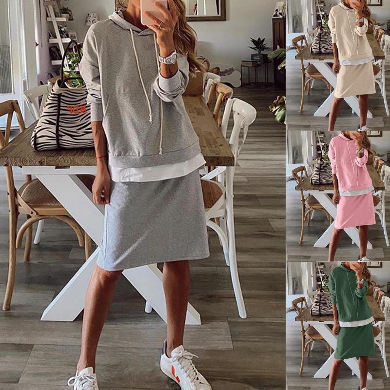 SPORT SPORT 2 PEICE SET SETSUIT Sweats à capuche Automne Mode Femme À Manches Longues À Capuche Solide Épais Épais Tour Chaud Suit Set # 40