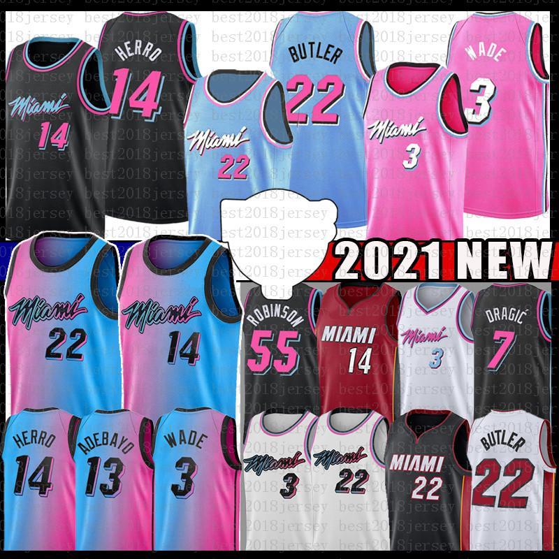 BAM 13 Jimmy Tyler 22 Butler 14 Herro Adebayo 2021 Basket Jersey 55 Dwayne Dwyane 3 Wade Goran 7 55 Duncan Dragic Kendrick Robinson Nunn