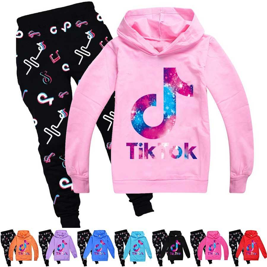 Sıcak 2 adet / takım Tik Tok Çocuk Giysileri Set Erkek Kız Eşofman Sonbahar Tiktok Çocuk Kapşonlu Kazak + Baskı Pantolon Kıyafet Çocuk Hoodie Spor Suit